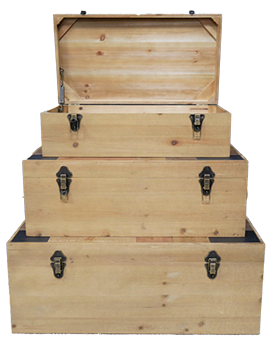 Set of Three Wooden Trunks