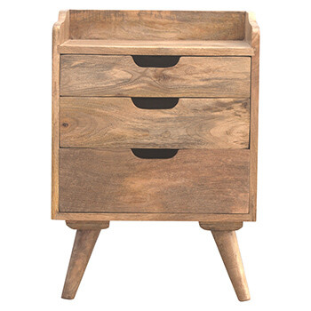 Gallery Back Bedside Table with 3 Drawers