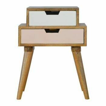 Blush Pink and White Multi Bedside Cabinet