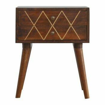 Geometric Brass Inlay Bedside Cabinet