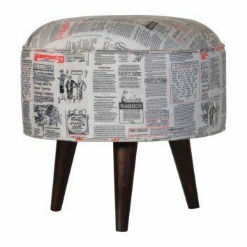 Round Footstool with Newsprint Velvet