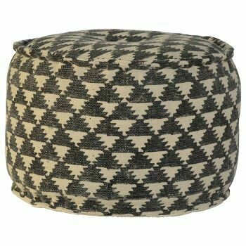 Durrie Round Footstool Upholstered in Jute