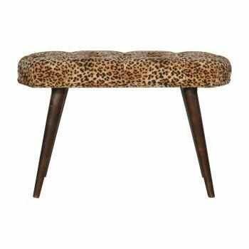 Leopard Print Cotton Velvet Deep Button Bench