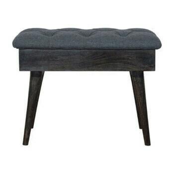 Ash Black Tweed Storage Bench