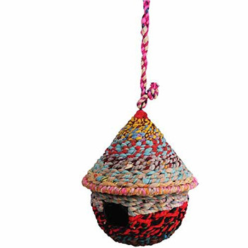 Recycled Fabric Bird House Round
