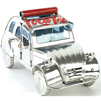 2CV car recycled cans silver with red graphics