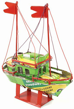 Boat made from recycled cans 18cm