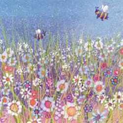 Bees in Meadow Greeting Card