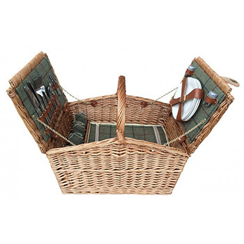 Four Person Green Tweed Double Lid Picnic Hamper