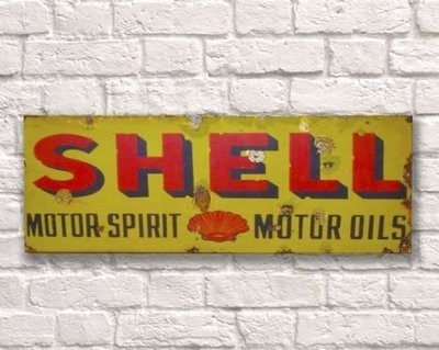 Shell Rusty Metal Sign