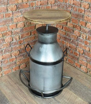 Milk Can Bar Stool Wooden Top