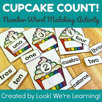 Cupcake Number Word Matching Activity