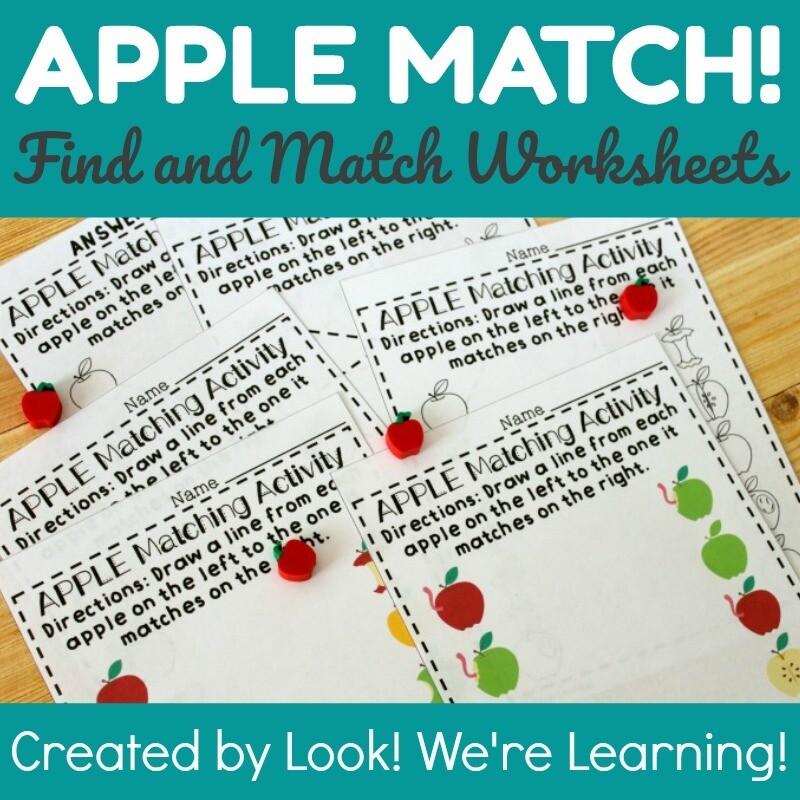 Apple Matching Worksheets for Preschool