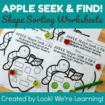 Apple Shapes Seek & Find Worksheets