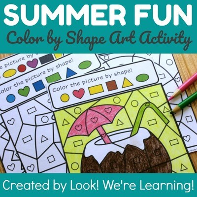 Summer Fun! Color by Shape Art Activity