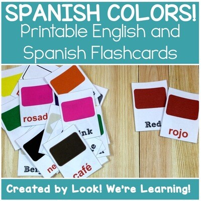 English and Spanish Color Words Flashcards