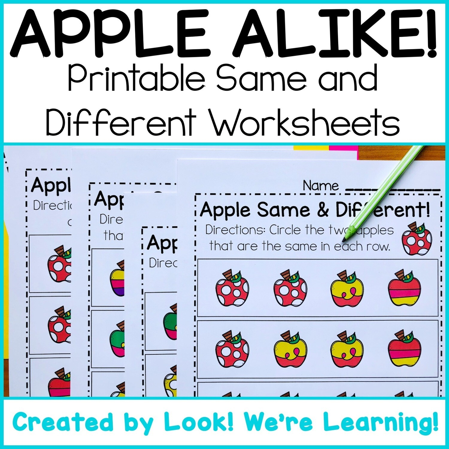 Apple Alike! Printable Same or Different Activity