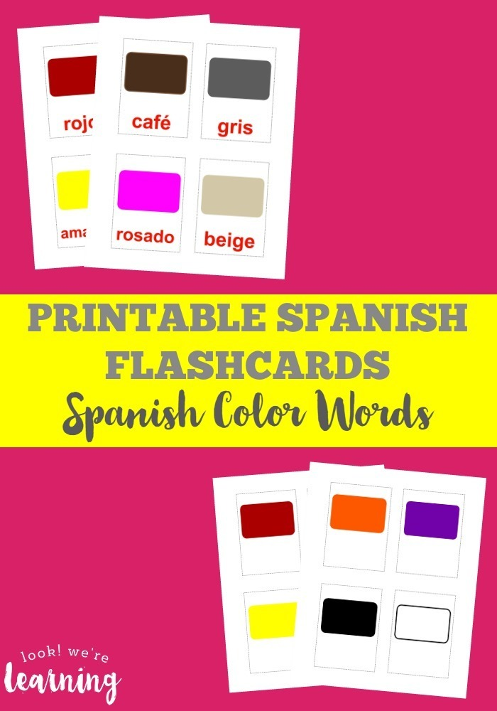 Printable Spanish Flashcards: Spanish Color Words