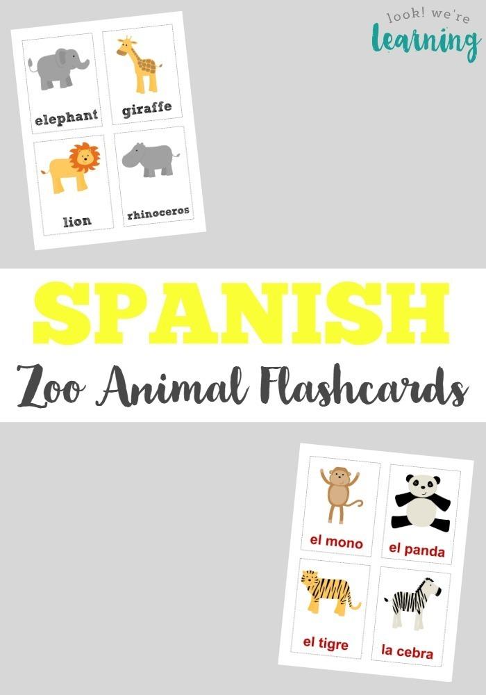 Spanish Zoo Animal Flashcards