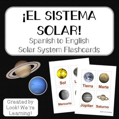 Printable Spanish Flashcards: Spanish Solar System Flashcards