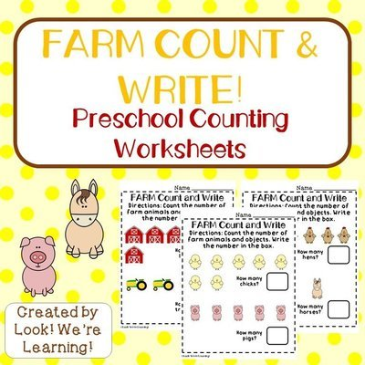 Farm Count & Write Worksheets