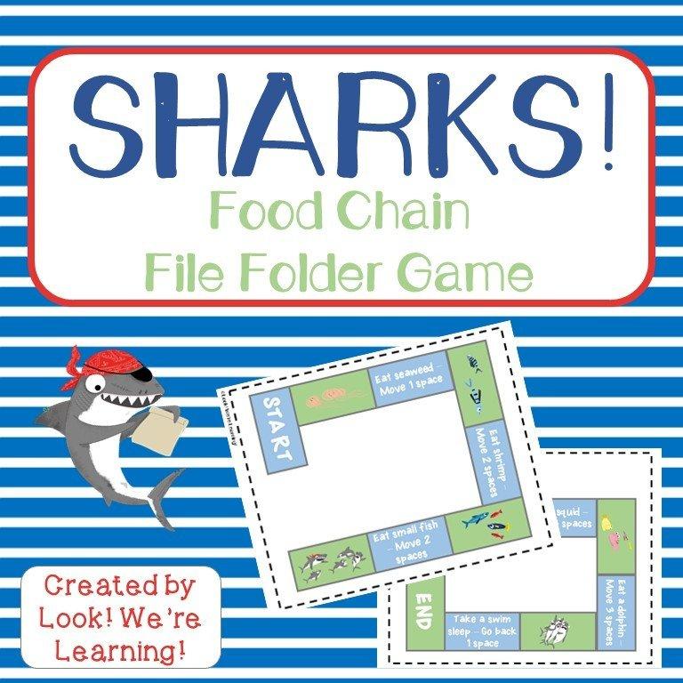Sharks! Shark Food Chain File Folder Game