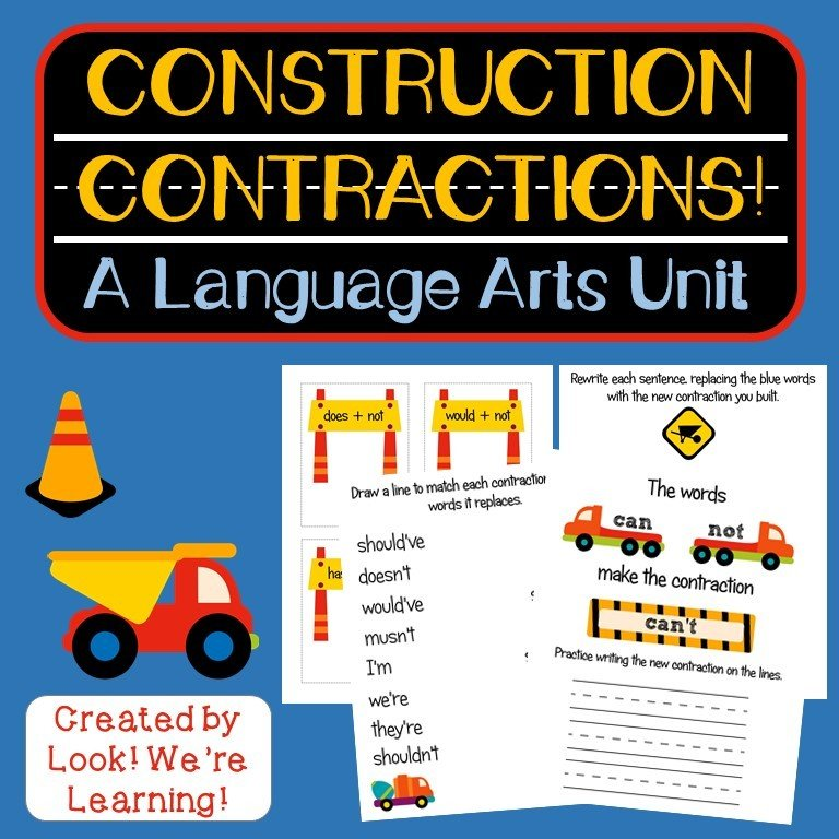 Construction Contractions! Language Arts Pack