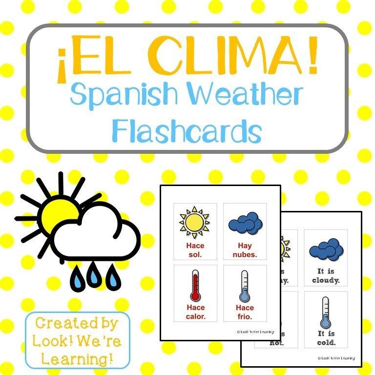 Printable Spanish Weather Flashcards
