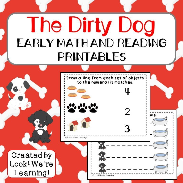 The Dirty Dog Early Math and Reading Printables