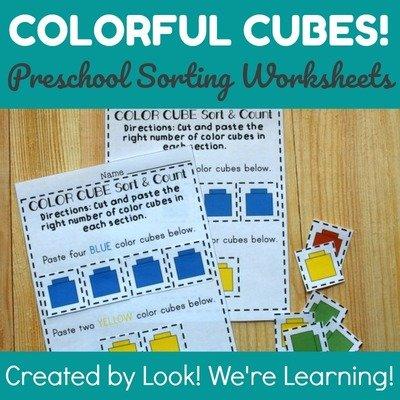 Colorful Cubes Preschool Sorting Worksheets