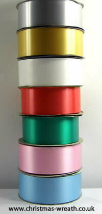 "Florists ribbon. Satine poly ribbon 2"", full 90m rolls various colours"