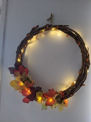 Natural willow autumn light up wreath