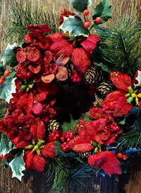 "Artificial Poinsettia Wreath 10"" with foliage"