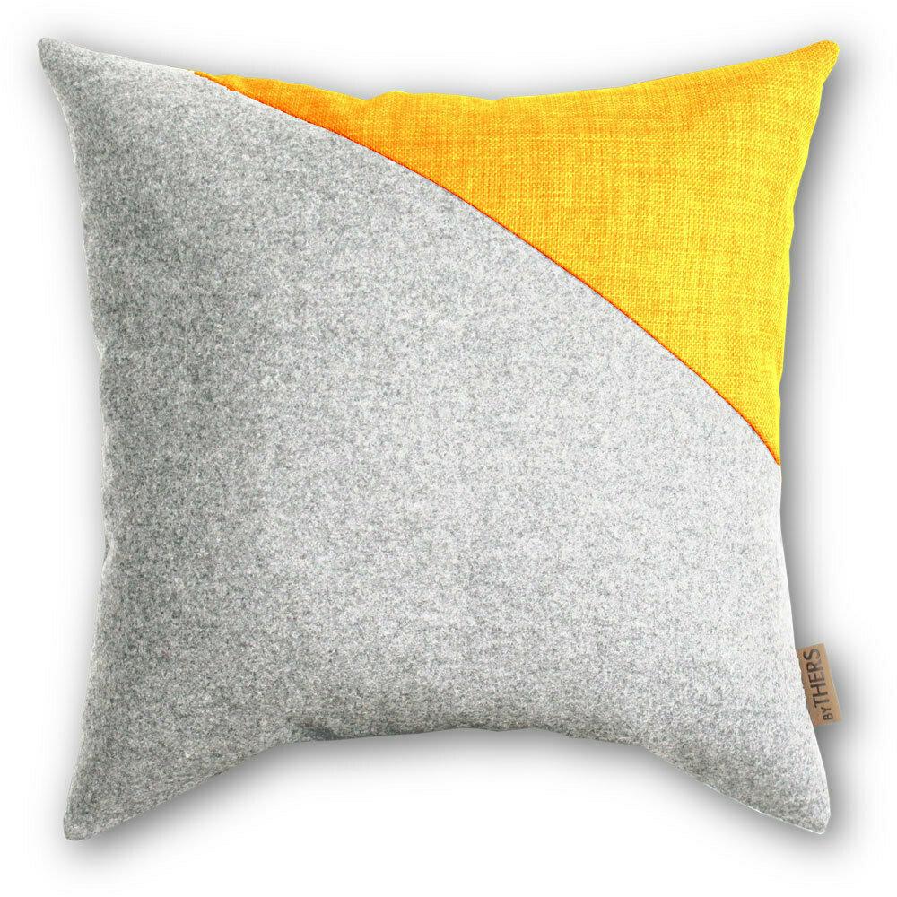 Contrast uld pude - Lys grå