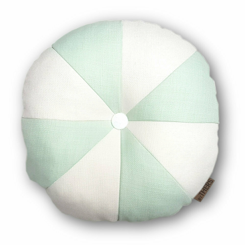 Rund pude med knap, hvid/lys mint - LAGERSALG