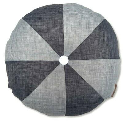 Rund pude med knap, lys grå/grå - LAGERSALG