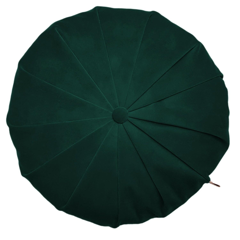 Rund velour pude - Mørk grøn