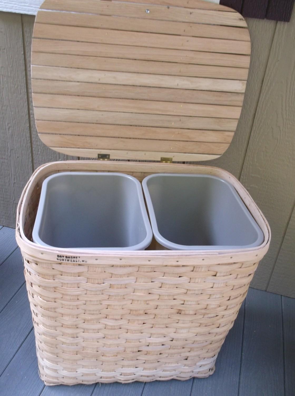 Double Hamper/Recycling Basket - 25.5x19x22