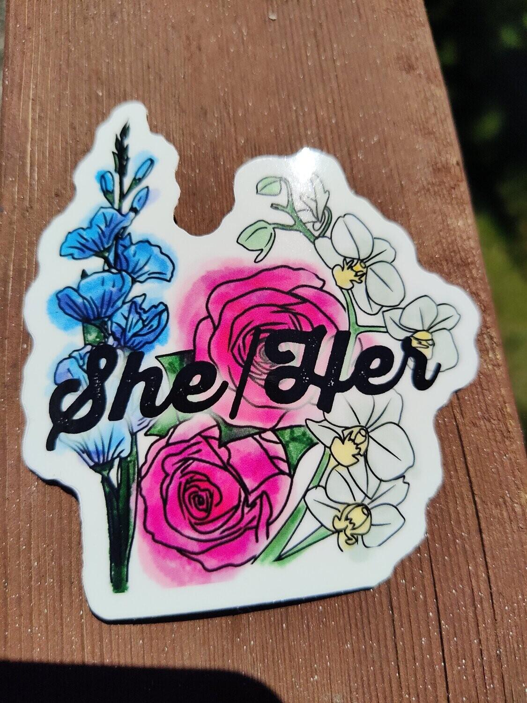 Large She/Her Pronoun Sticker