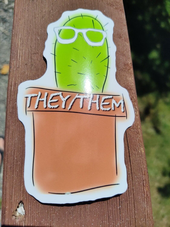 Large They/Them Pronoun Sticker