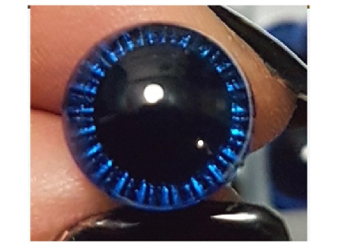 Ojos de seguridad bicolor azul fluor 12 mm, 20 unid.
