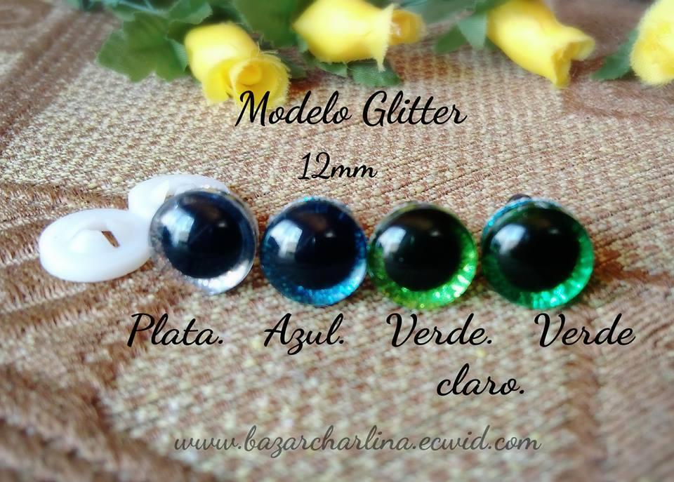 Ojos glitter (con brillo escarchado) 12 mm