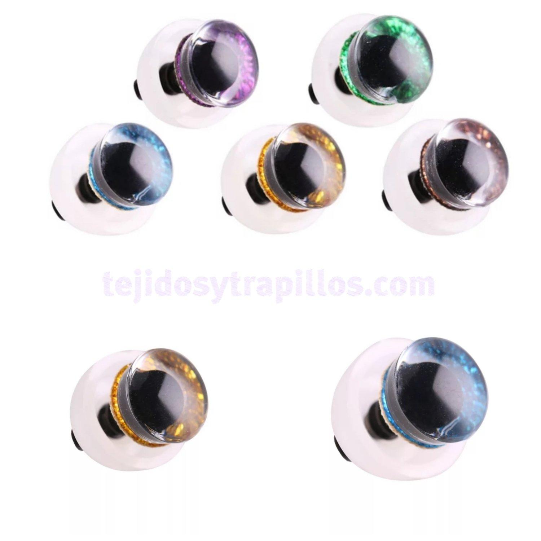 Ojos glitter 9mm (con brillo escarchado)