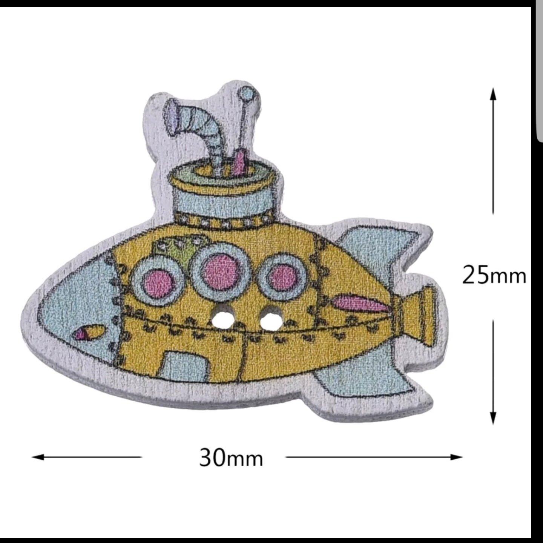 Submarino Botón Madera  10 unidades