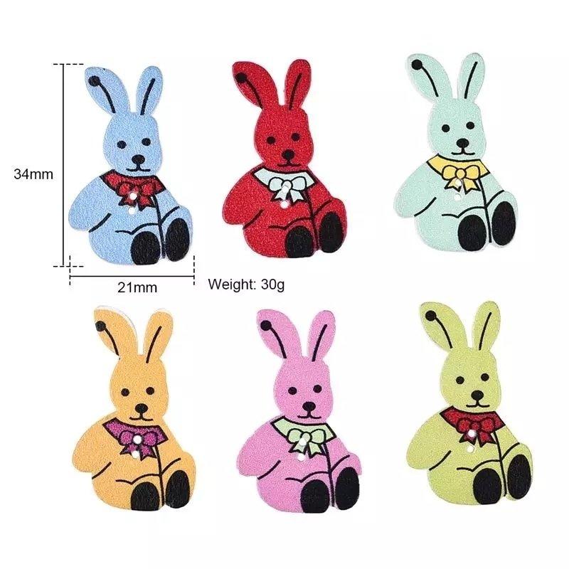 Conejos Botón Madera 10 unidades
