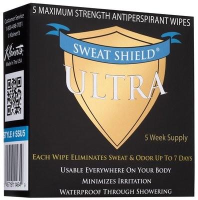 Kleinert's Maximum Strength Ultra Sweat Shield Clinical Antiperspirant Wipes 5 Packets (7 days each)