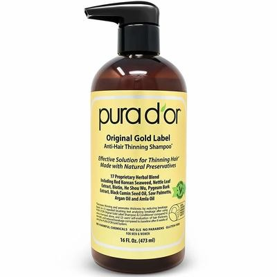 PURA D'OR Original Gold Label Anti-Thinning Shampoo with Argan Oil, Biotin & Natural Ingredients