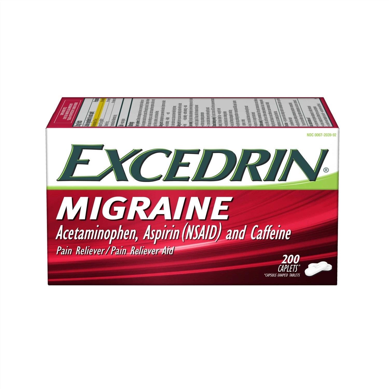 Excedrin Migraine Caplets for Migraine Pain Relief, 200 count