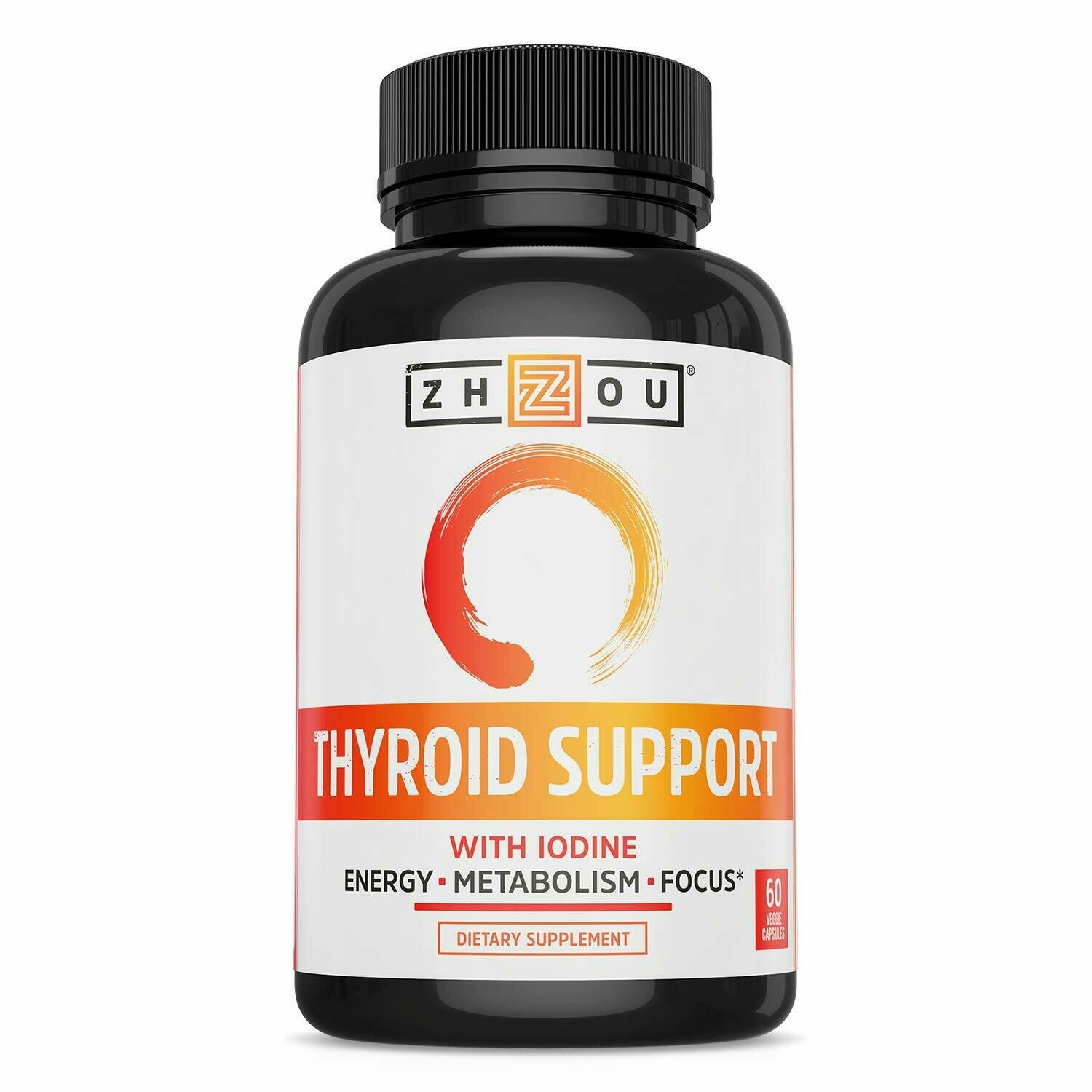 Zhou Nutrition Thyroid Support Complex with Iodine - Energy, Metabolism & Focus Formula - Vegetarian, Soy & Gluten Free