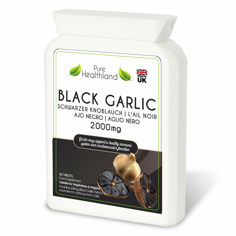 Pure Healthland  Black Garlic Supplement Pills for Men & Women Gluten Free ODORLESS 2000mg